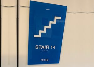 ADA compliant wayfinding signage for Stairs