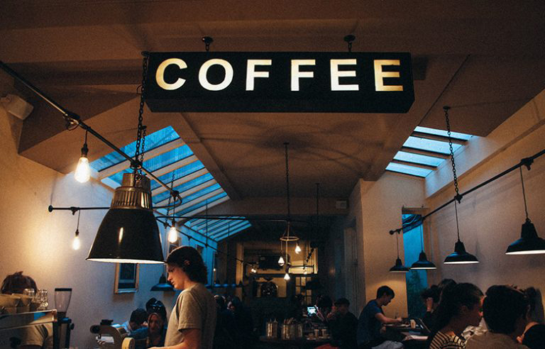 Custom Lighted Hanging Signs for Coffee Shop
