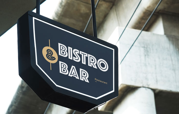Bistro Bar & Restaurant Hanging Signs in Charlotte, NC