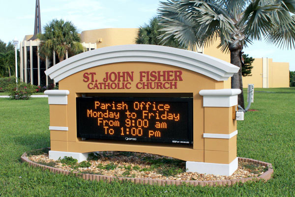 Electronic message board for Catholic Church in Charlotte, NC