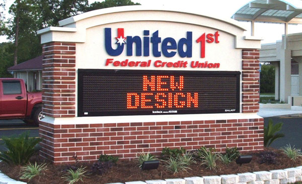 Led display message board for United 1stin Charlotte, NC