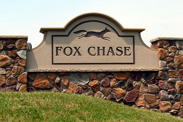 Stone monument signs for Fox Chase in Charlotte, NC
