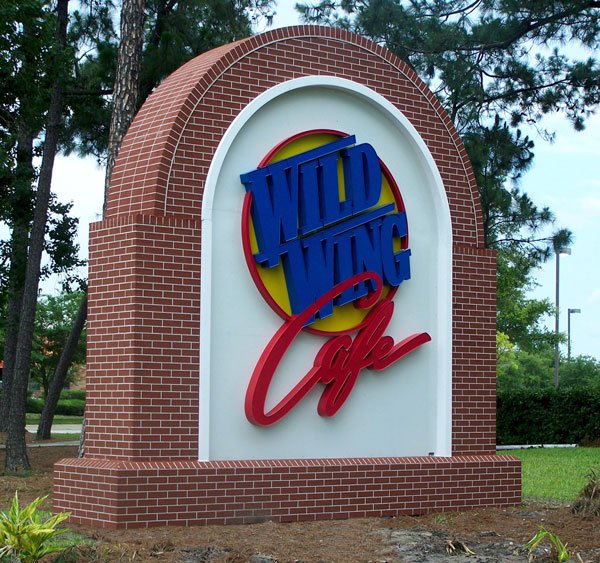 Illuminated monument signs for Wild Wing Café in Charlotte, NC