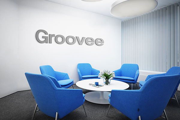 Professional office lobby signs for Groovee