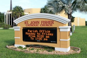 St. John Fisher Catholic Church Monument Signs with Changeable LED Lights by QC Signs Charlotte