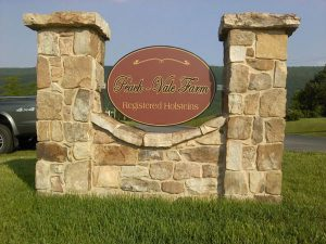 Stone Monument Signage for Peach Vale Farm in Charlotte, NC