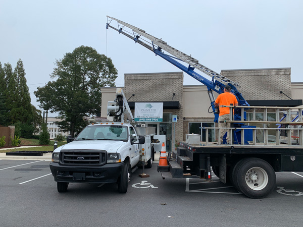 Outdoor sign installation by QC Signs & Graphics in Charlotte, NC