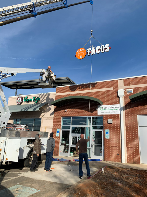 Tacos Channel Letters Installation by QC Signs Charlotte