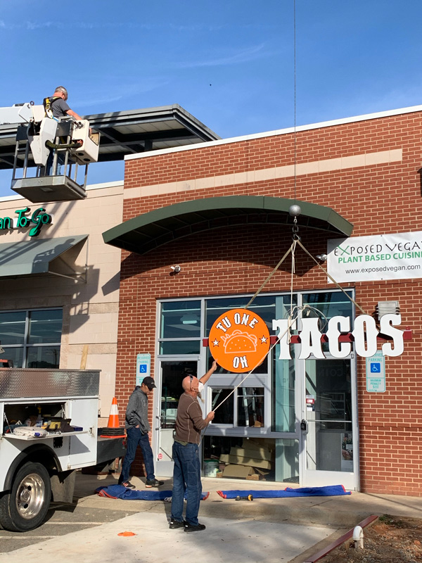 Exterior signage installation by QC Signs Charlotte