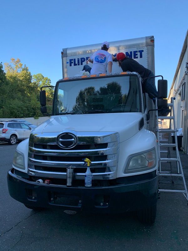 Commercial truck wrap installation for Flippinjays in Charlotte, NC