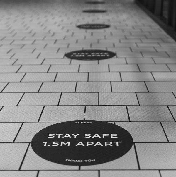 Outdoor Social Distancing Floor Stickers in Charlotte